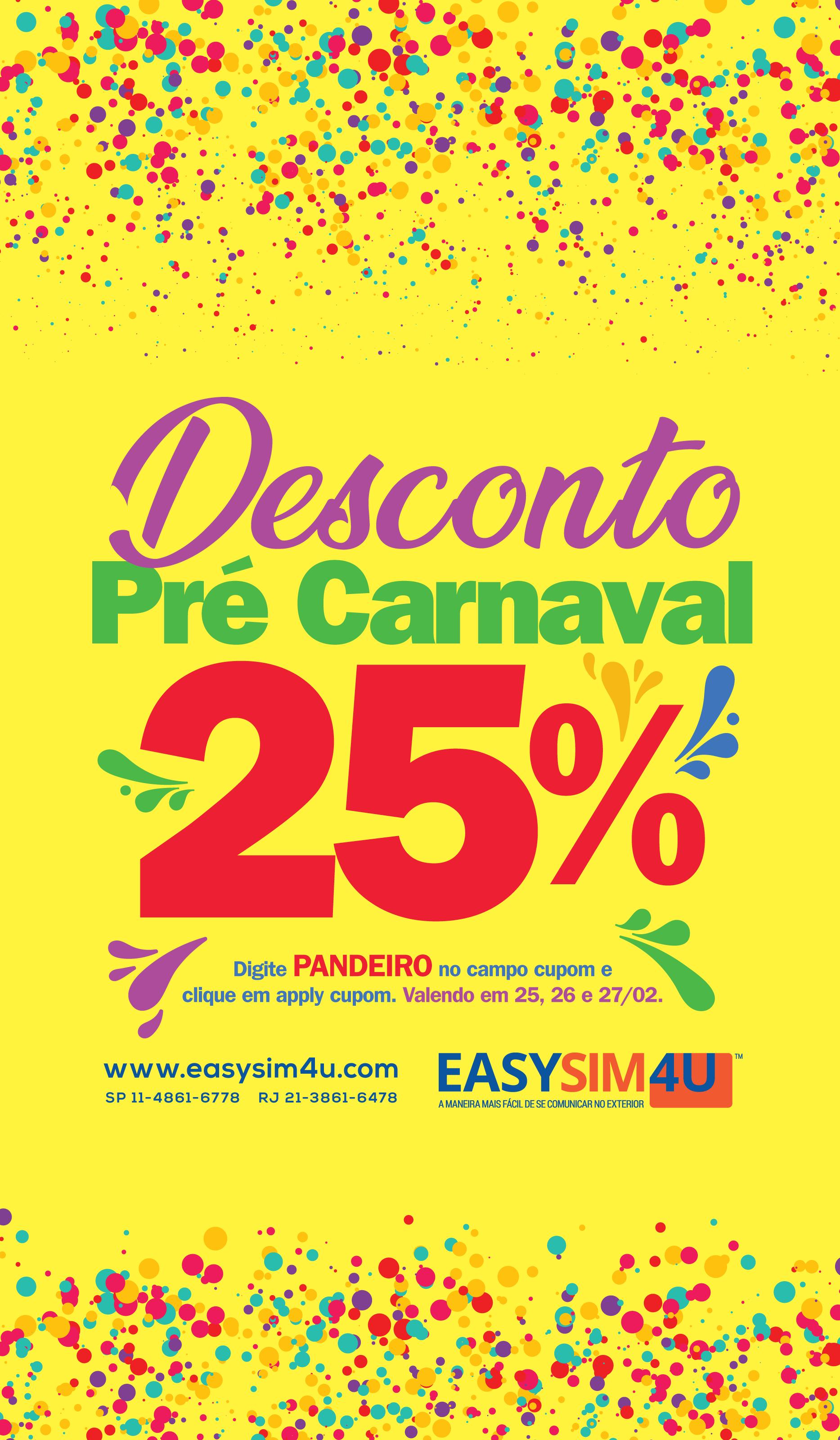 Cupom Easysim4u - Pré-carnaval